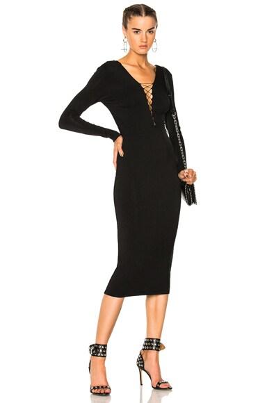 Lace Up Midi Long Sleeve Dress