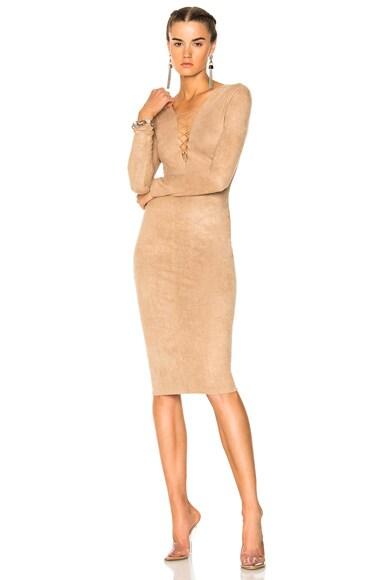 Faux Suede Lace up Mini Dress