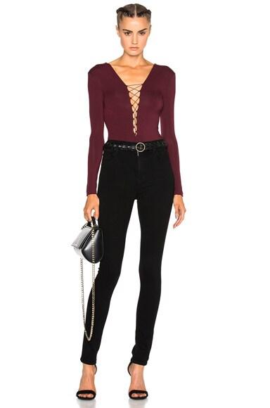 Lace Up Long Sleeve Bodysuit