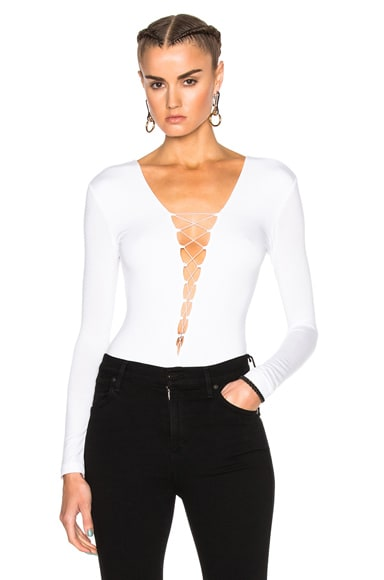 T by Alexander Wang Modal Spandex Lace Up Bodysuit in White