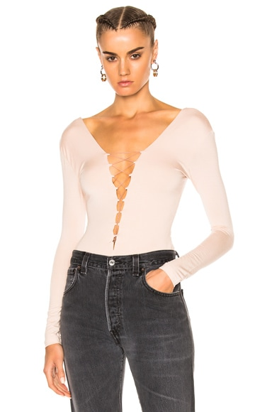 T by Alexander Wang Modal Spandex Lace Up Bodysuit in Blush