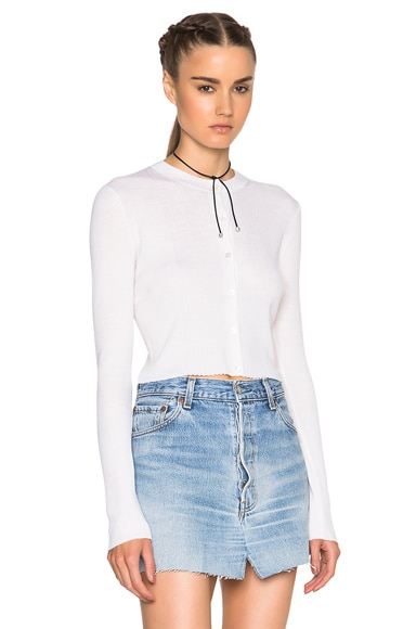 T by Alexander Wang Cropped Cardigan Sweater in Ivory