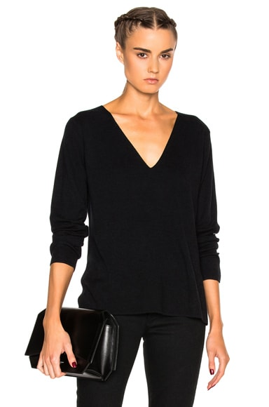 T by Alexander Wang Deep V Sweater in Black