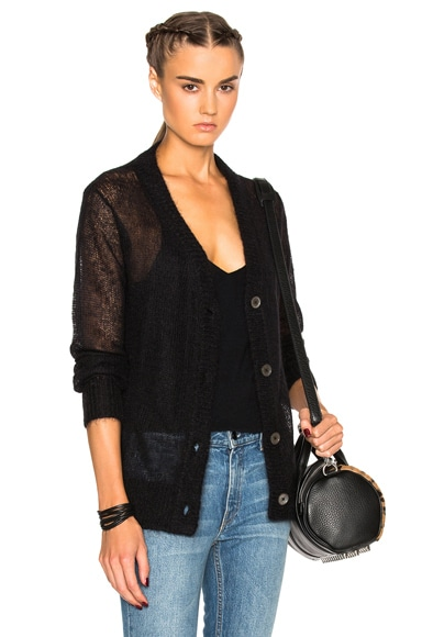 T by Alexander Wang Mohair Cardigan Sweater in Black