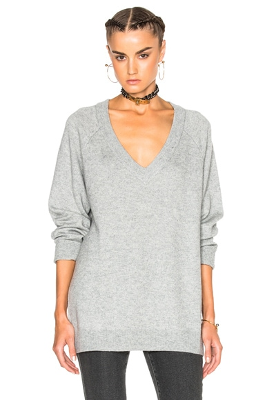 T by Alexander Wang Cashmere Deep V Neck Sweater in Heather Grey
