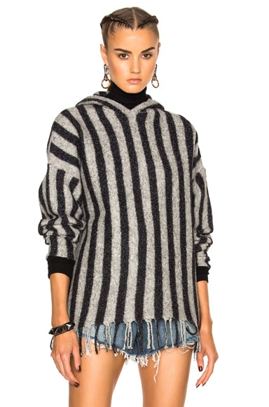 T by Alexander Wang Fringe Hem Hoodie in Black & Light Heather Grey