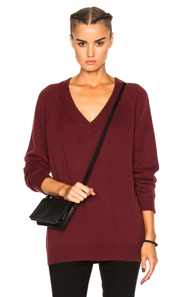 T by Alexander Wang Cashwool Deep V Neck Sweater in Wine