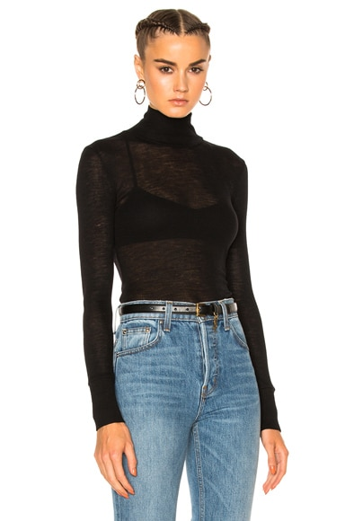 T by Alexander Wang Sheer Rib Turtleneck Sweater in Black