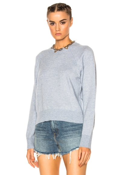T by Alexander Wang Cashwool Crew Crop Sweater in Chambray