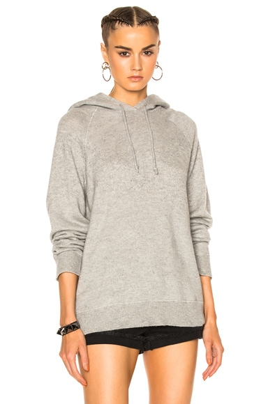 T by Alexander Wang Cashwool Raglan Hoodie in Heather Grey