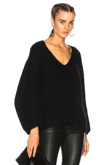 Bracelet Sleeve V Neck Sweater