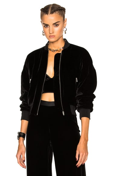 T by Alexander Wang Slightly Batted Bomber Jacket in Black