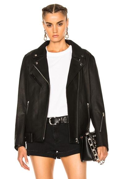 Oversized Leather Moto Jacket