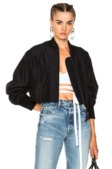 Silk Cotton Cropped Bomber