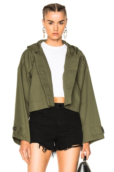 Lightweight Cotton Hooded Crop Jacket