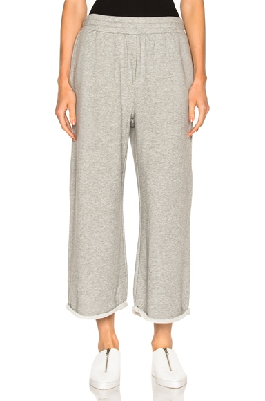 T by Alexander Wang French Terry Cropped Wide Leg Sweatpants in Heather Gray