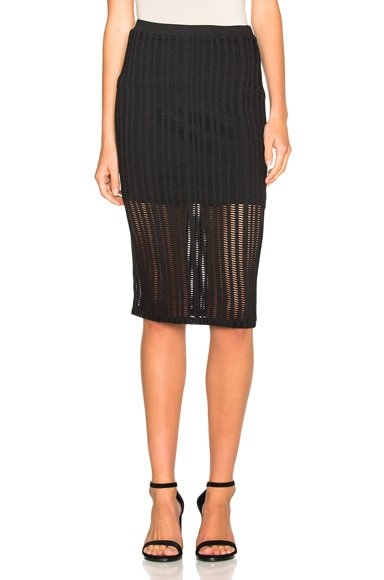 T by Alexander Wang Jacquard Fitted Skirt in Black