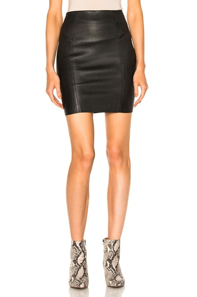 T by Alexander Wang Leather Mini Skirt in Black