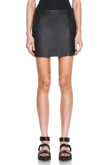 Lambskin Leather A-Line Skirt