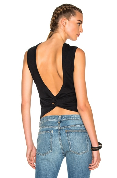 T by Alexander Wang Twist Back Tee in Black