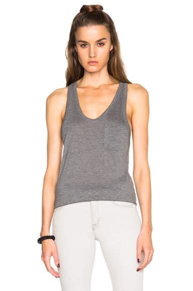 T by Alexander Wang Classic Tank with Pocket in Heather Grey
