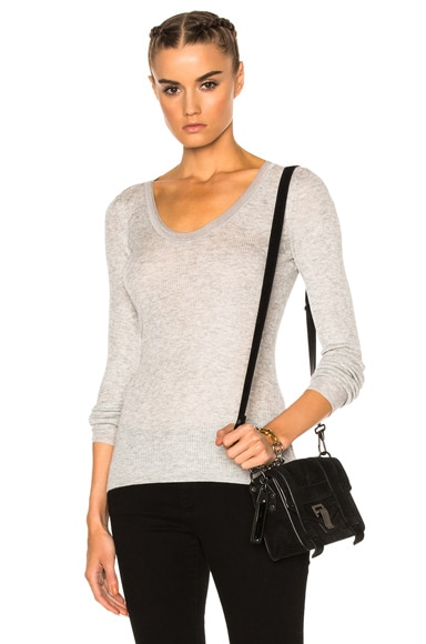 T by Alexander Wang Viscose Rib Long Sleeve Tee in Light Heather Grey