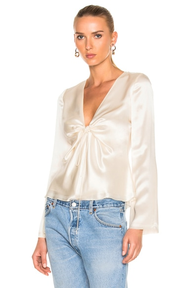 T by Alexander Wang Silk Charmeuse Tie Knot Long Sleeve Top in Ivory
