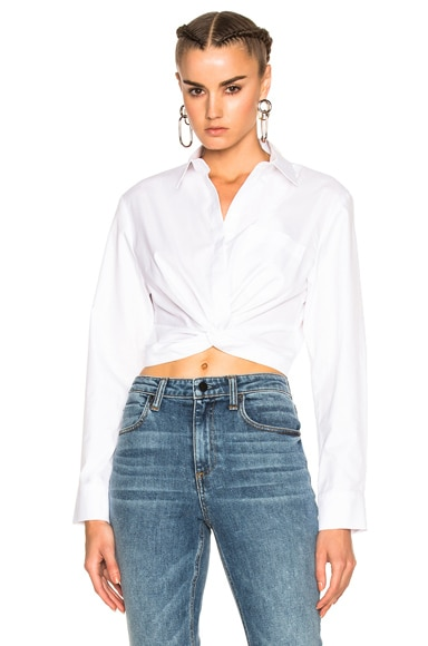 T by Alexander Wang Cotton Twill Twist Front Long Sleeve Shirt in White