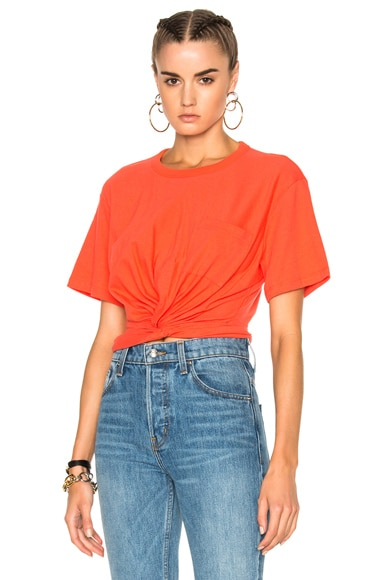 T by Alexander Wang Cotton Jersey Twist Front Short Sleeve Tee in Scarlet