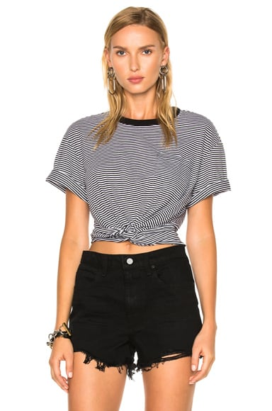 T by Alexander Wang Cotton Jersey Twist Front Short Sleeve Tee in Black & White