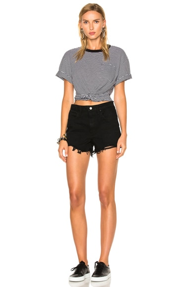 Cotton Jersey Twist Front Short Sleeve Tee