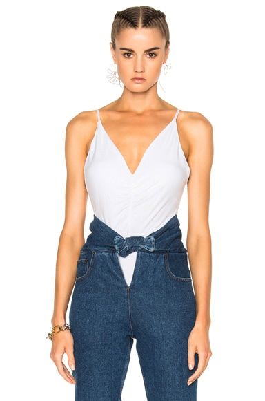 T by Alexander Wang Micro Modal Spandex Shirred Front Camisole in White