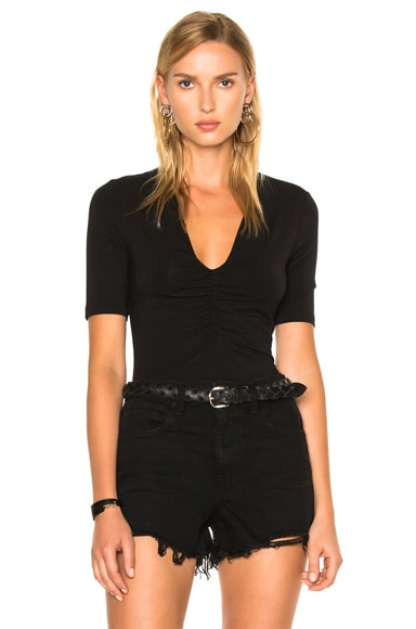T by Alexander Wang Modal Spandex Shirred Front Short Sleeve Top in Black