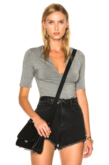T by Alexander Wang Modal Spandex Shirred Front Short Sleeve Top in Heather Gray