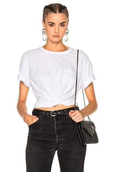 T by Alexander Wang Cotton Jersey Twist Front Short Sleeve Tee in White