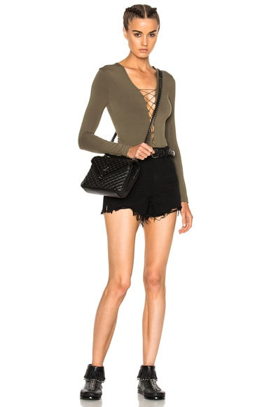 Micro Modal Spandex Lace Up Long Sleeve Bodysuit