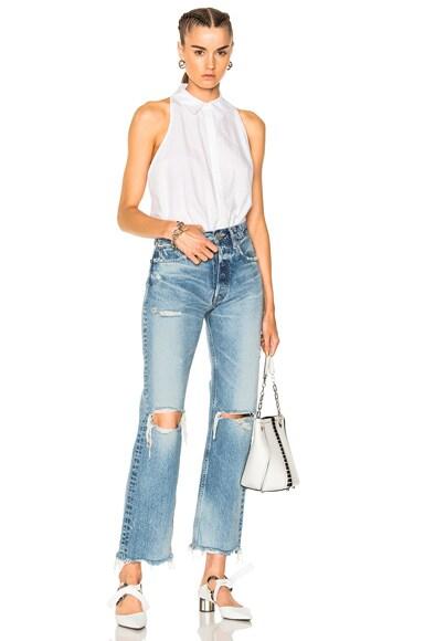 Washed Cotton Poplin Sleeveless Bodysuit