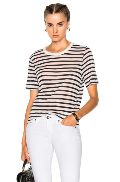 Rayon Linen Stripe Short Sleeve Cropped Tee
