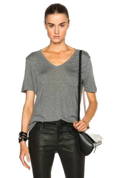 T by Alexander Wang Classic Viscose Tee with Pocket in Heather Grey