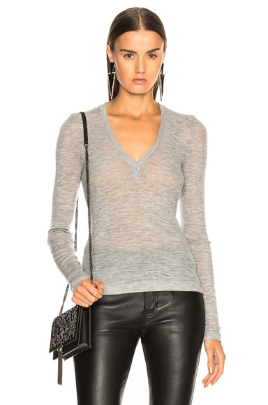 Wooly Rib Deep V Neck Top