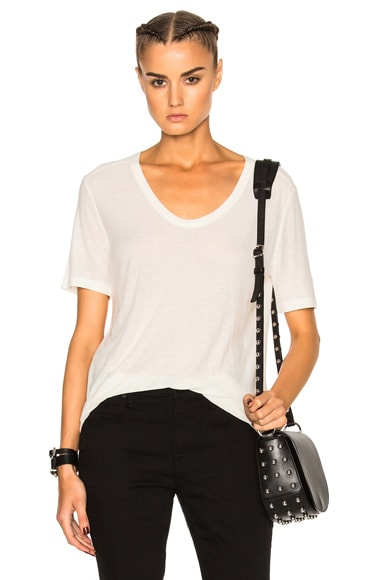 T by Alexander Wang Slub Classic Viscose-Blend Tee in Ivory
