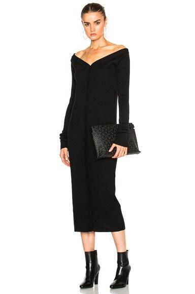 Tibi V Neck Decolate Dress in Black