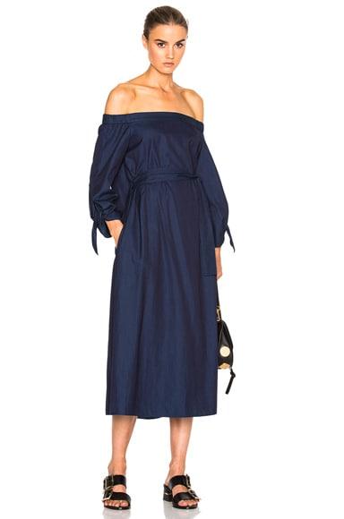 Tibi Midi Off Shoulder Dress with Belt in Perfect Denim Blue
