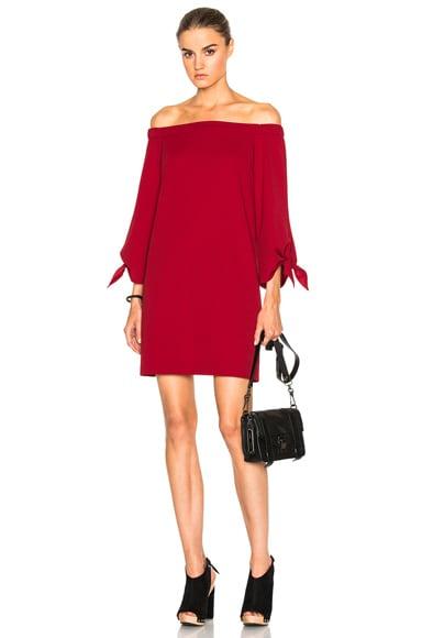 Tibi Off The Shoulder Dress in Crimson Red