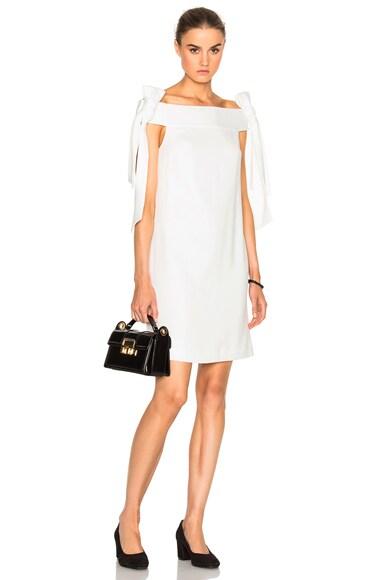 Tibi Tie Shoulder Dress in Ivory