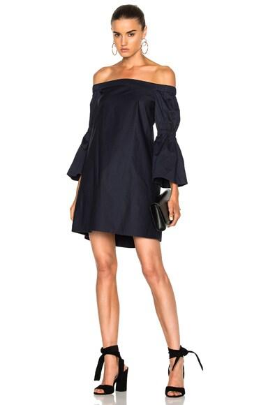 Tibi Poplin Lantern Sleeve Dress in Dark Navy