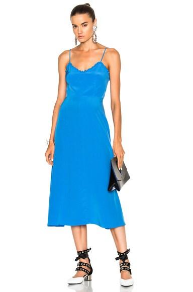Tibi Silk Ruffle Dress in Acadia Blue