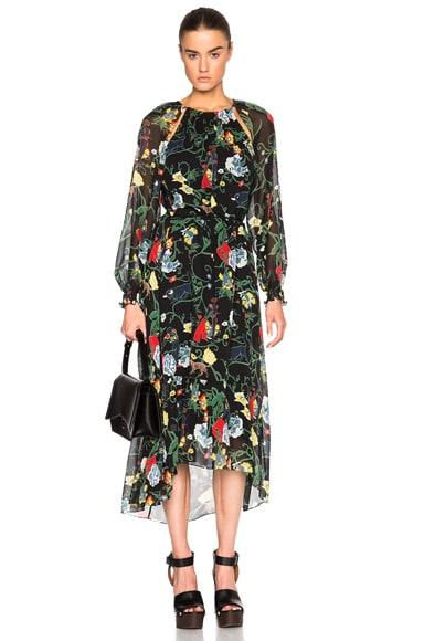 Tibi Josephina Dress in Black Multi