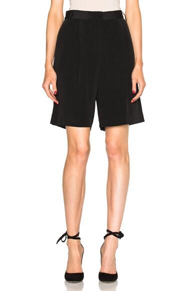 Tibi Pleated Wide Leg Shorts in Black
