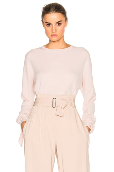 Tibi Mock Tie Sleeve Sweater in Pale Blush